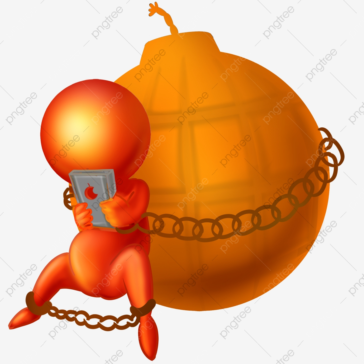 Christmas Chain Clipart.Stickman Illustration Tied With Iron Chain Orange Bomb Red