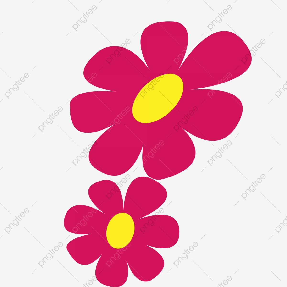 Two Red Cartoon Flowers Flowers Cartoon Flowers Red Flowers Png Transparent Clipart Image And Psd File For Free Download