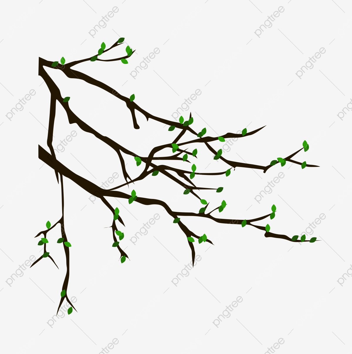 Vector Cartoon Tree Branch Sprouting Heart Shaped Branches Flowers Vines Png And Vector With Transparent Background For Free Download