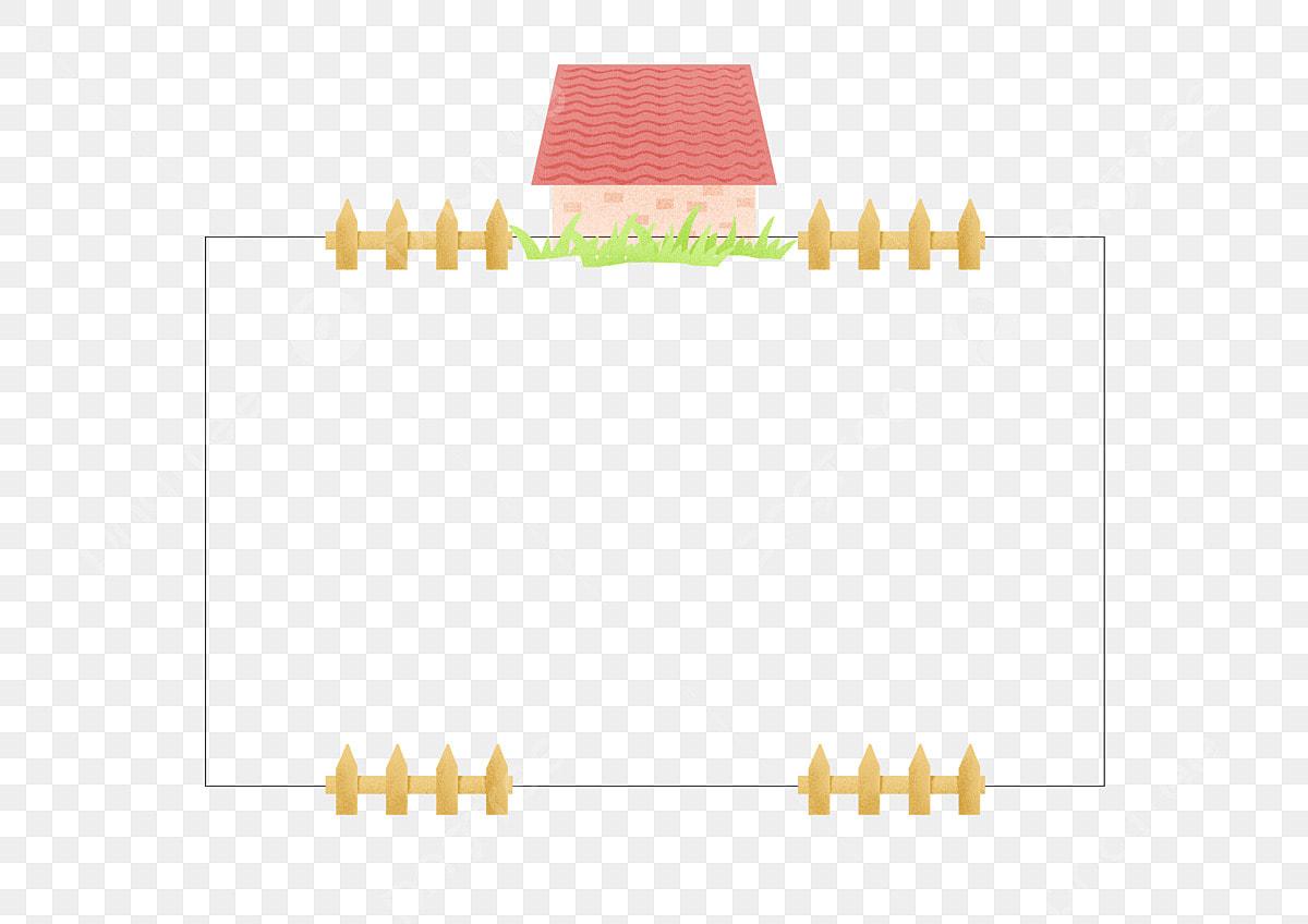 Gambar Rumah Kecil Pagar Kayu Sempadan Pagar Membina Hiasan Kayu Png Dan Psd Untuk Muat Turun Percuma