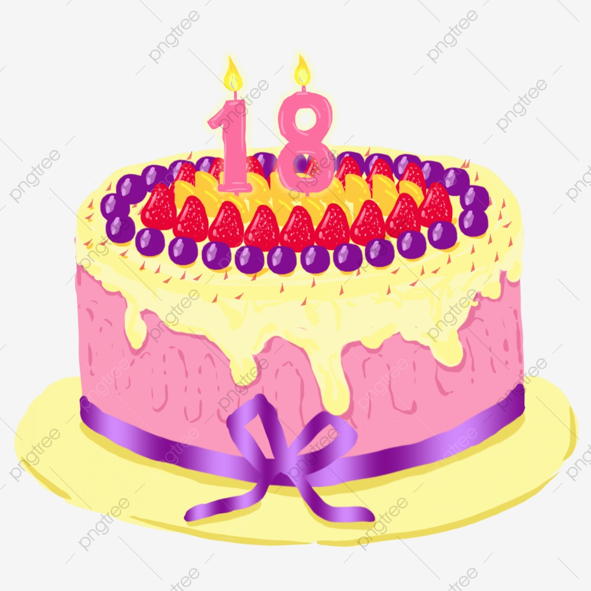 Brilliant 8 Years Old Birthday Cake With Ribbon And Birthday Candles Png Funny Birthday Cards Online Aeocydamsfinfo