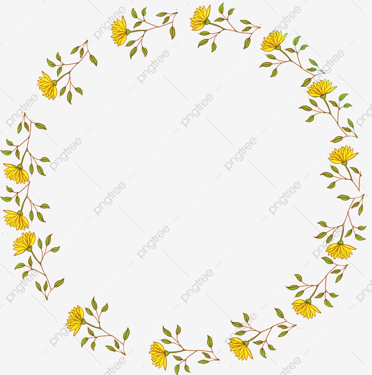 Yellow Flower Branch Border Decoration Yellow Flowering Branches