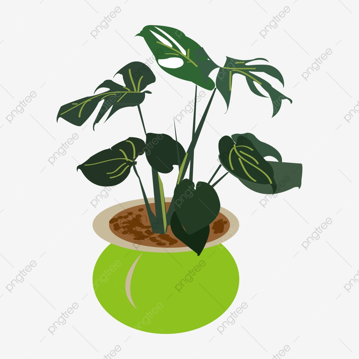 A Pot Of Monstera Potted Illustrator, Monstera, A Pot Of Monstera, Monstera  Potted Plants PNG and Vector with Transparent Background for Free Download