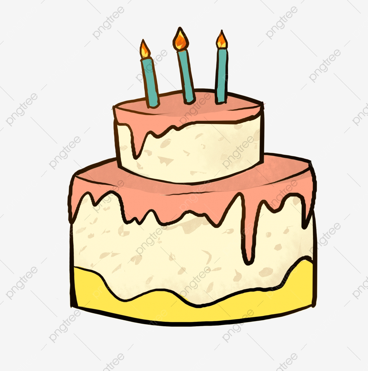 Birthday Cake Cartoon Illustration Burning Candle Cartoon Illustration Happy Birthday Png Transparent Clipart Image And Psd File For Free Download