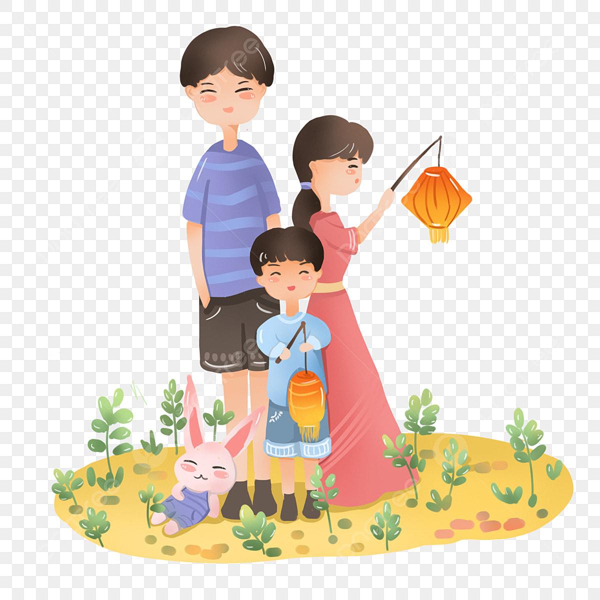 Gambar Festival Lantern Tergantung Gantung Festival Lantern Ibu Dan Ayah Kartun Tergantung Gantung Di Png Dan Psd Untuk Muat Turun Percuma