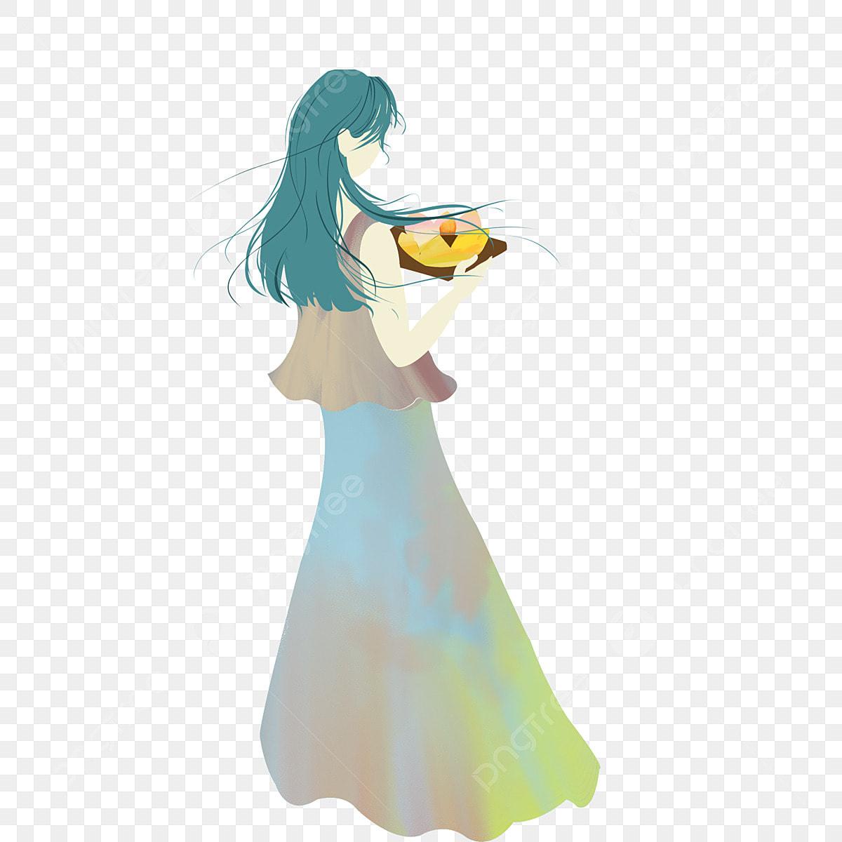 Cartoon Girl Back View Free Illustration, Anime Girl, Fashion Girl