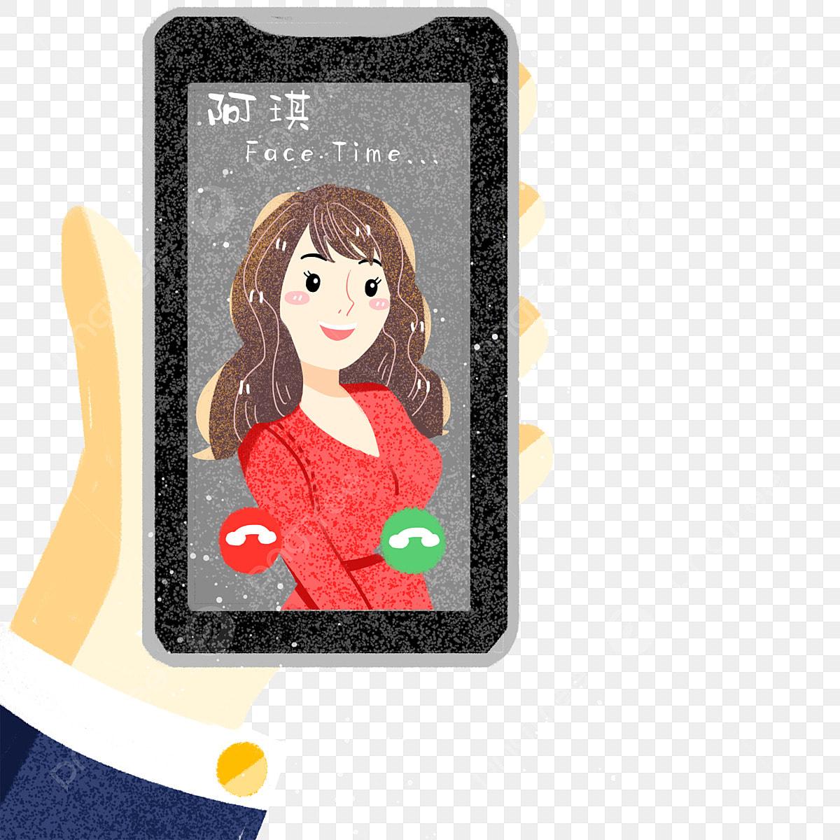 Man Video Chatting On Mobile Phone Vector Cartoon Clipart - FriendlyStock