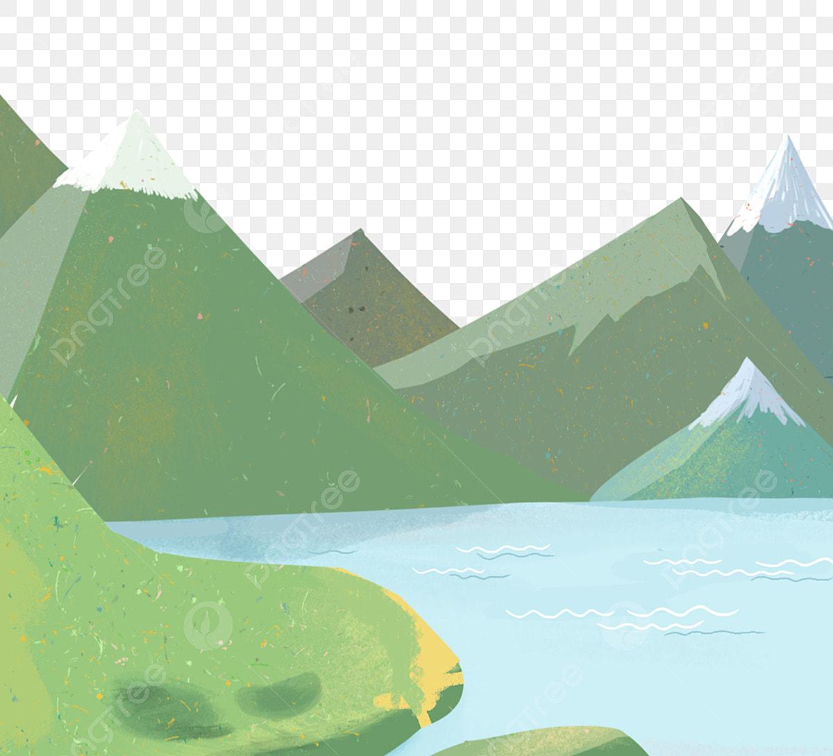 Gambar Pemandangan Kartun Pemandangan Danau Gunung Png Transparan Clipart Dan File Psd Untuk Unduh Gratis