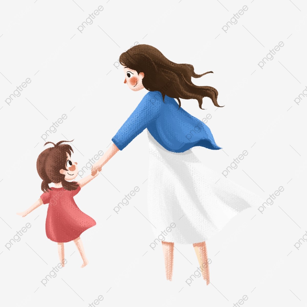 Mother And Daughter Vector PSD And Clipart With
