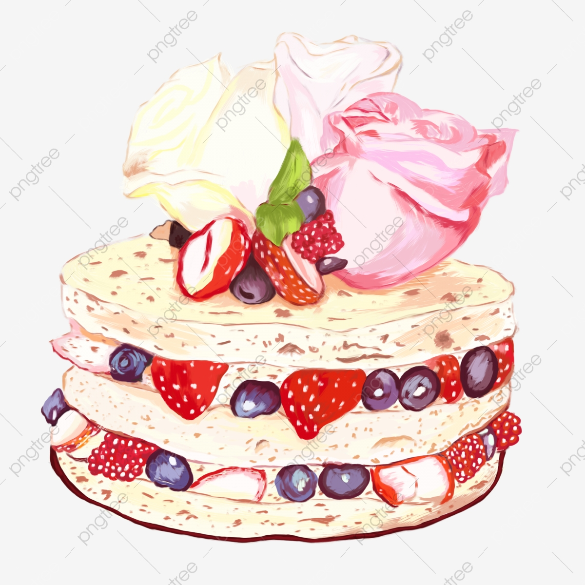 Awe Inspiring Cartoon Three Layer Strawberry Sandwich Cake Free Illustration Funny Birthday Cards Online Sheoxdamsfinfo