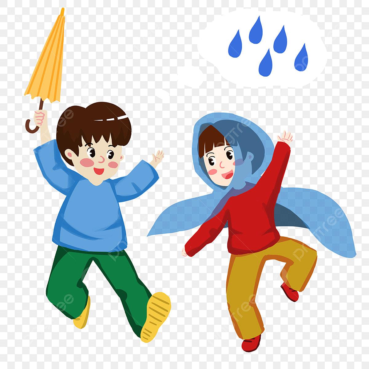 Lukisan Tangan Kartun Watak Warna Baju Hujan Hiasan Kanak