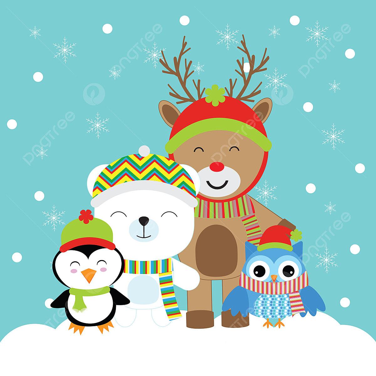 クリスマスのグリーティングカードはがきや壁紙のかわいい鹿ペンギンクマとフクロウ漫画イラスト クリスマス キュート ベア画像素材の無料ダウンロードのためのpngとベクトル