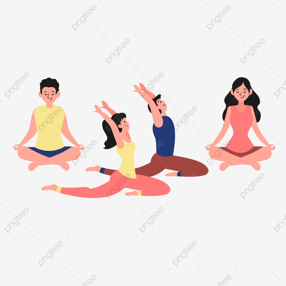 Cute Flat Simple Yoga Meditation Character Material Cute Characters Flat Characters Simple Characters Png Transparent Clipart Image And Psd File For Free Download