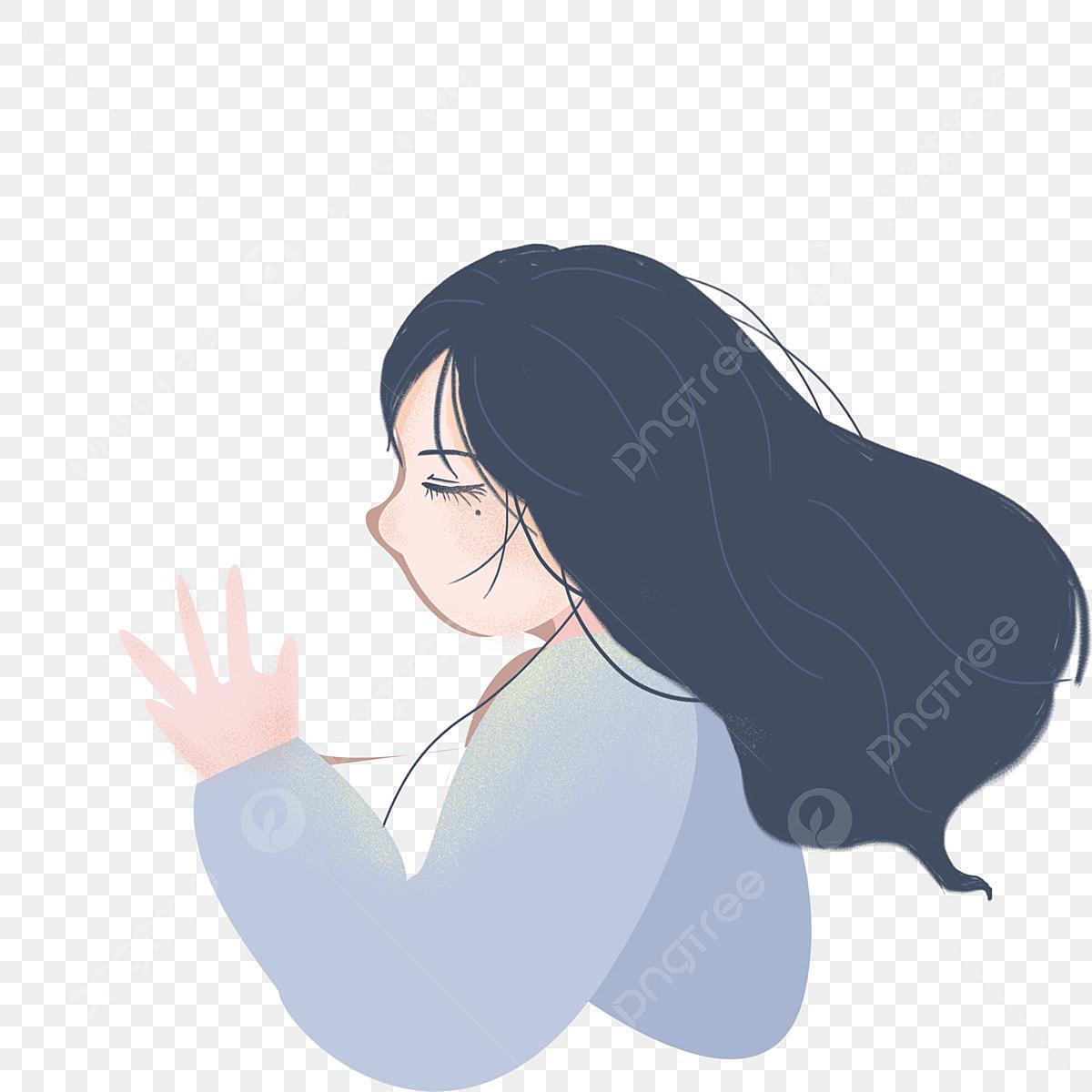 Kartun Gadis Tidur Watak Kartun Watak Anime Rambut Hitam