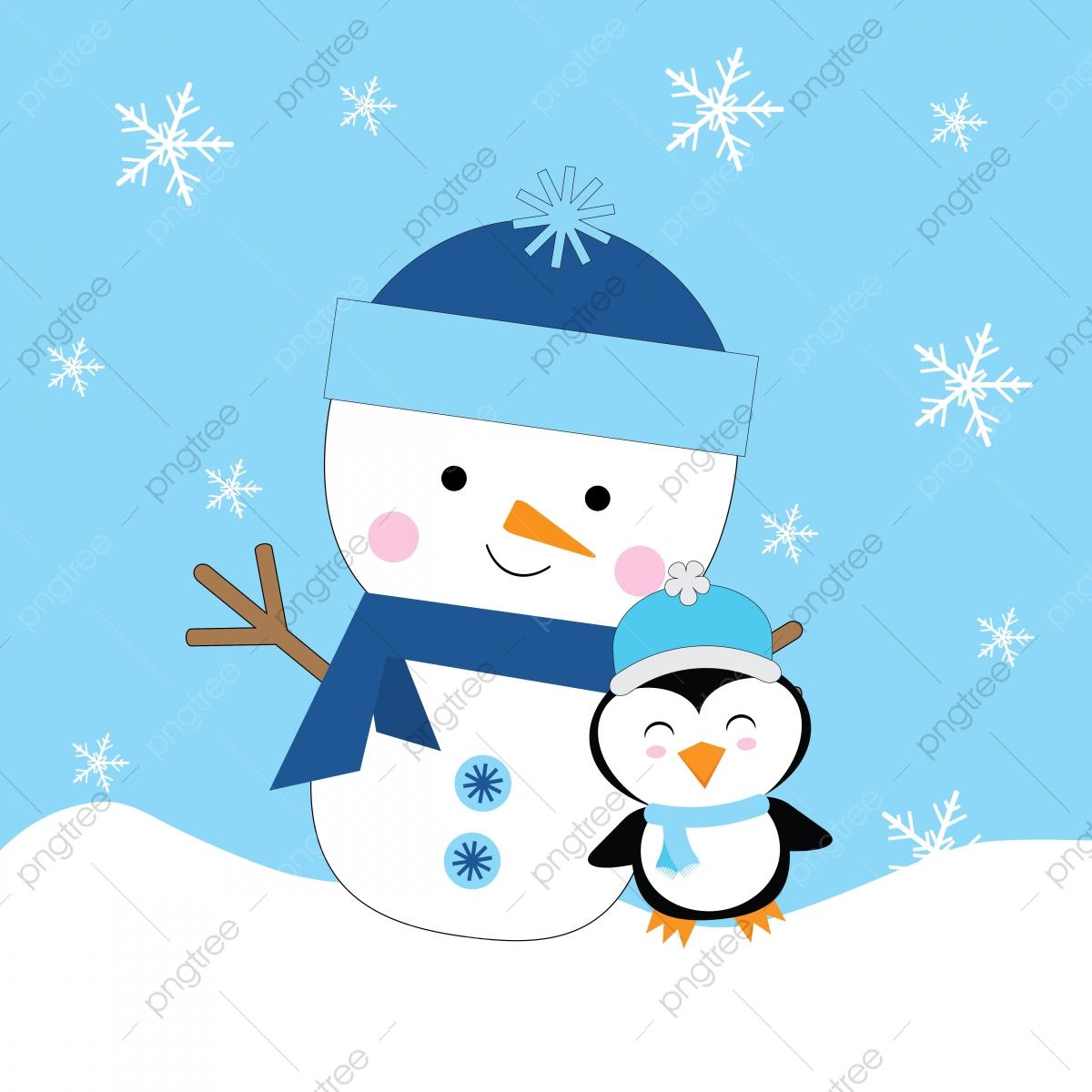 Lindo Muñeco De Nieve Y Penguin Ilustración Para Niños