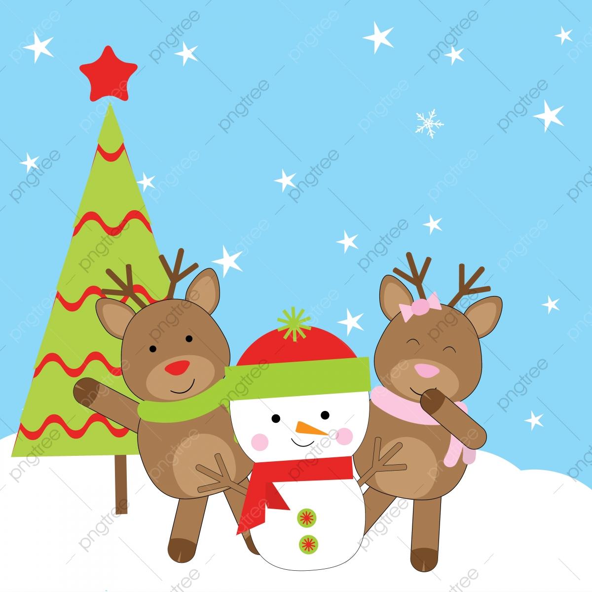 Y La Postal Lindo Muñeco De Nieve Ciervos Y Arbol De Navidad