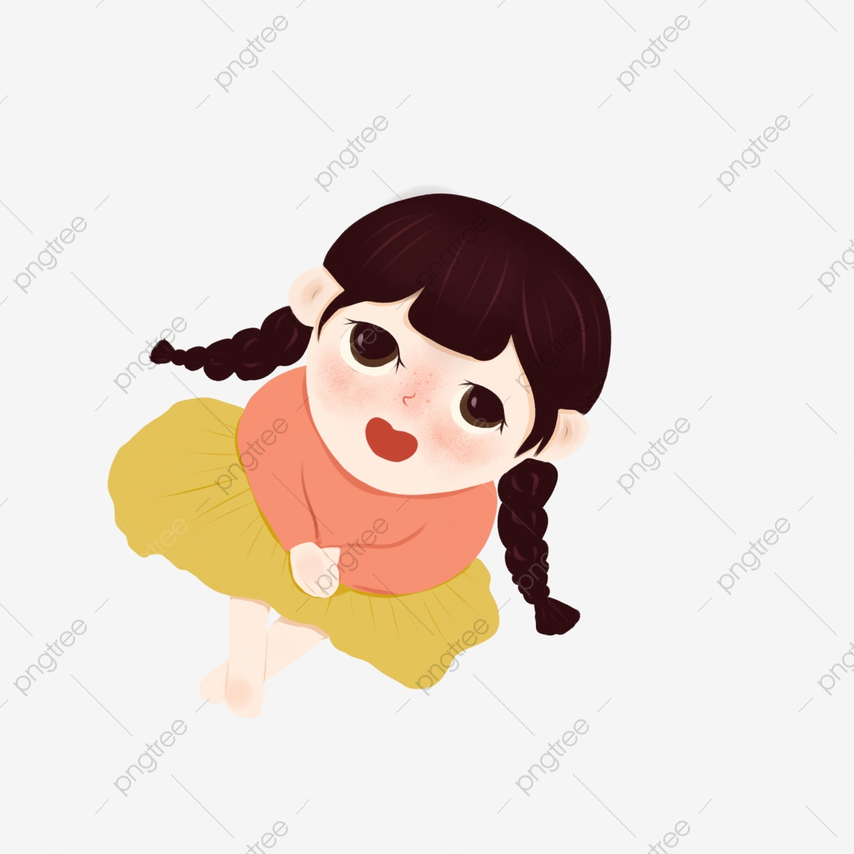 Girl Looking Up At The Sky To Download Cartoon Little Girl Cute Girl Cartoon Character Png Transparent Clipart Image And Psd File For Free Download