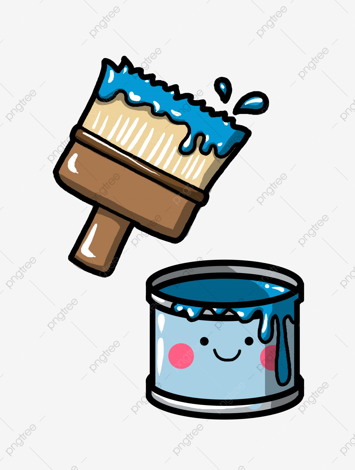 Hand Drawn Blue Paint Bucket Illustration Paint Brush Brush Illustration Png Transparent Clipart Image And Psd File For Free Download