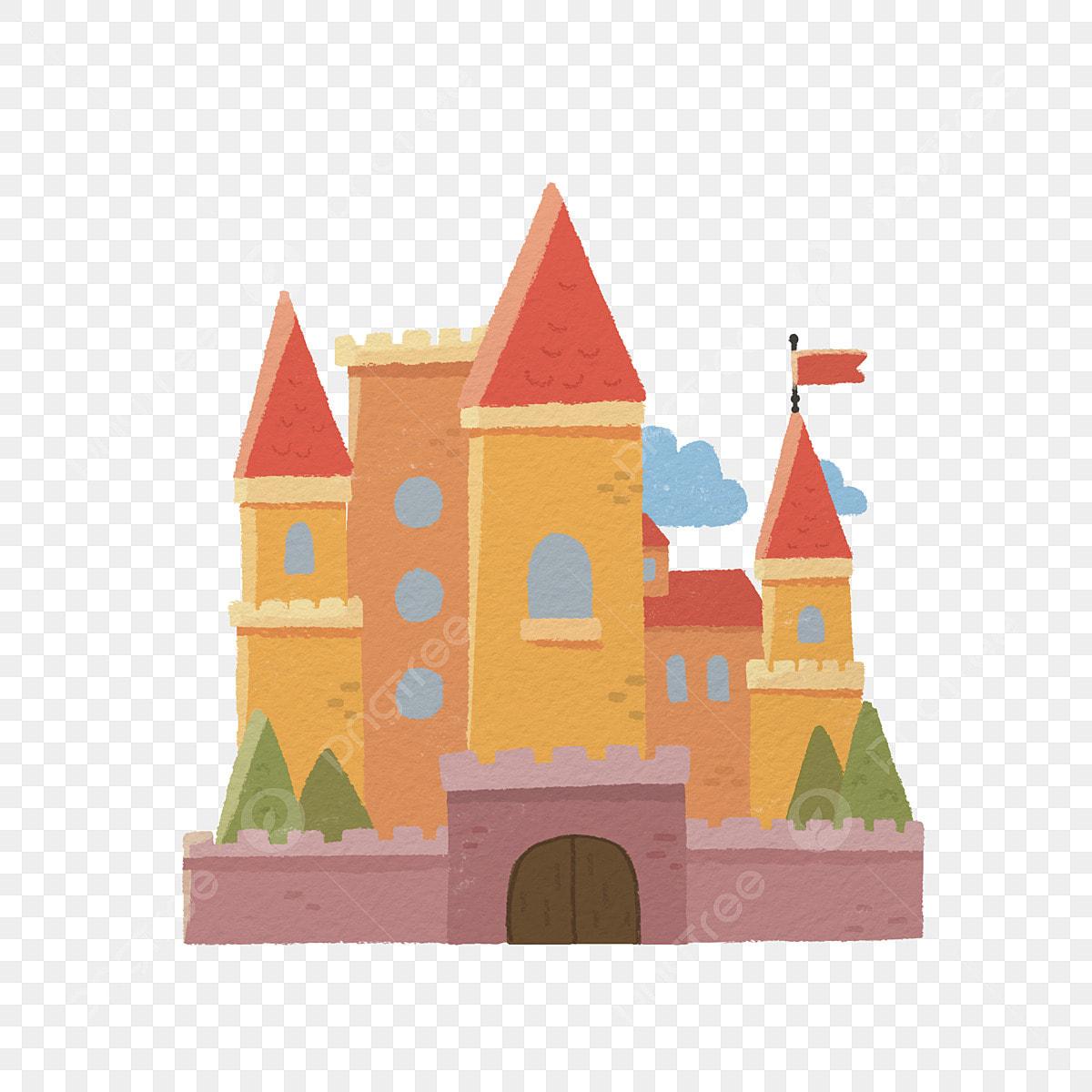 Hand Drawn Crayon Cartoon Castle Medieval Castle European Castle Castle Png Transparent Clipart Image And Psd File For Free Download