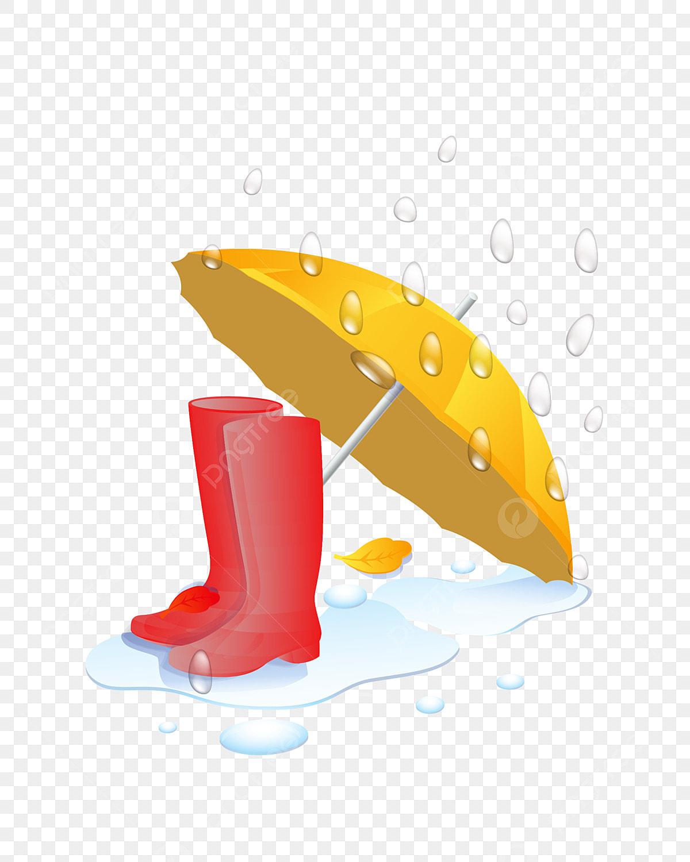 Peint à La Main Parapluie Bottes De Pluie Illustration, Main