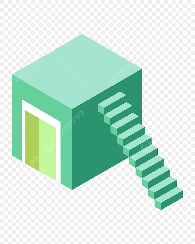 Escalier Dans La Maison vert marches escalier de la maison illustration, vert