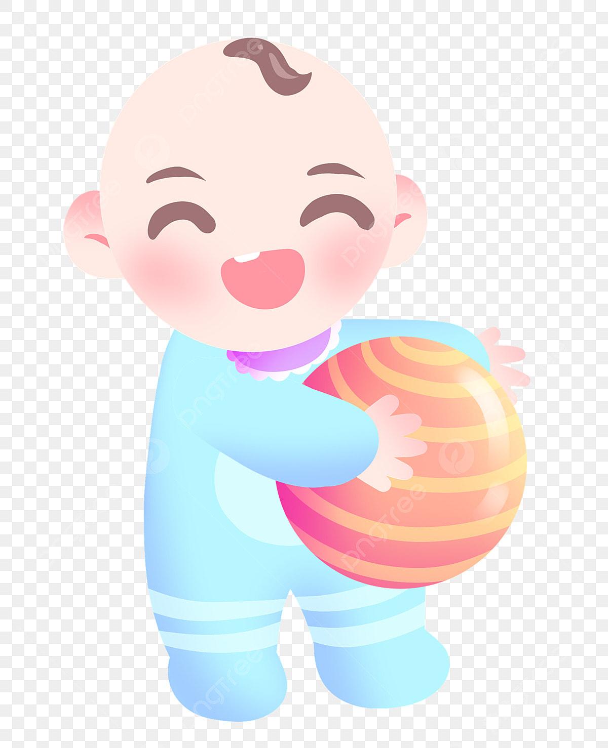 Jouer Au Ballon Bébé Illustration De Dessin Animé