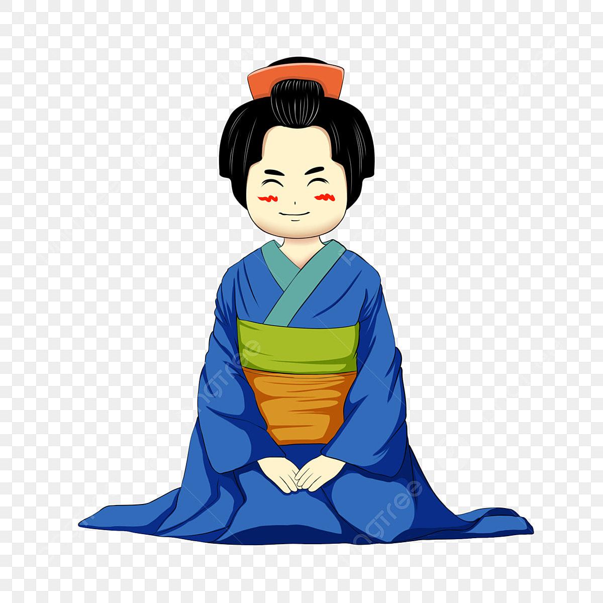 日本のキャラクターイラスト 着物を着ている少女 青い着物