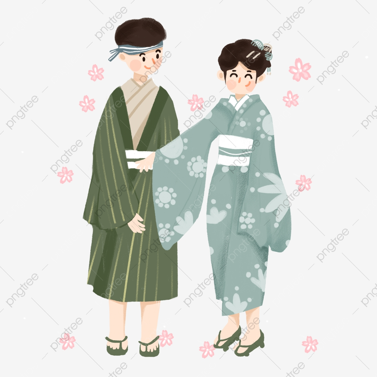 Japanese In National Dress With A Flag. Man And Woman In Traditional..  Royalty Free Cliparts, Vectors, And Stock Illustration. Image 96984269.