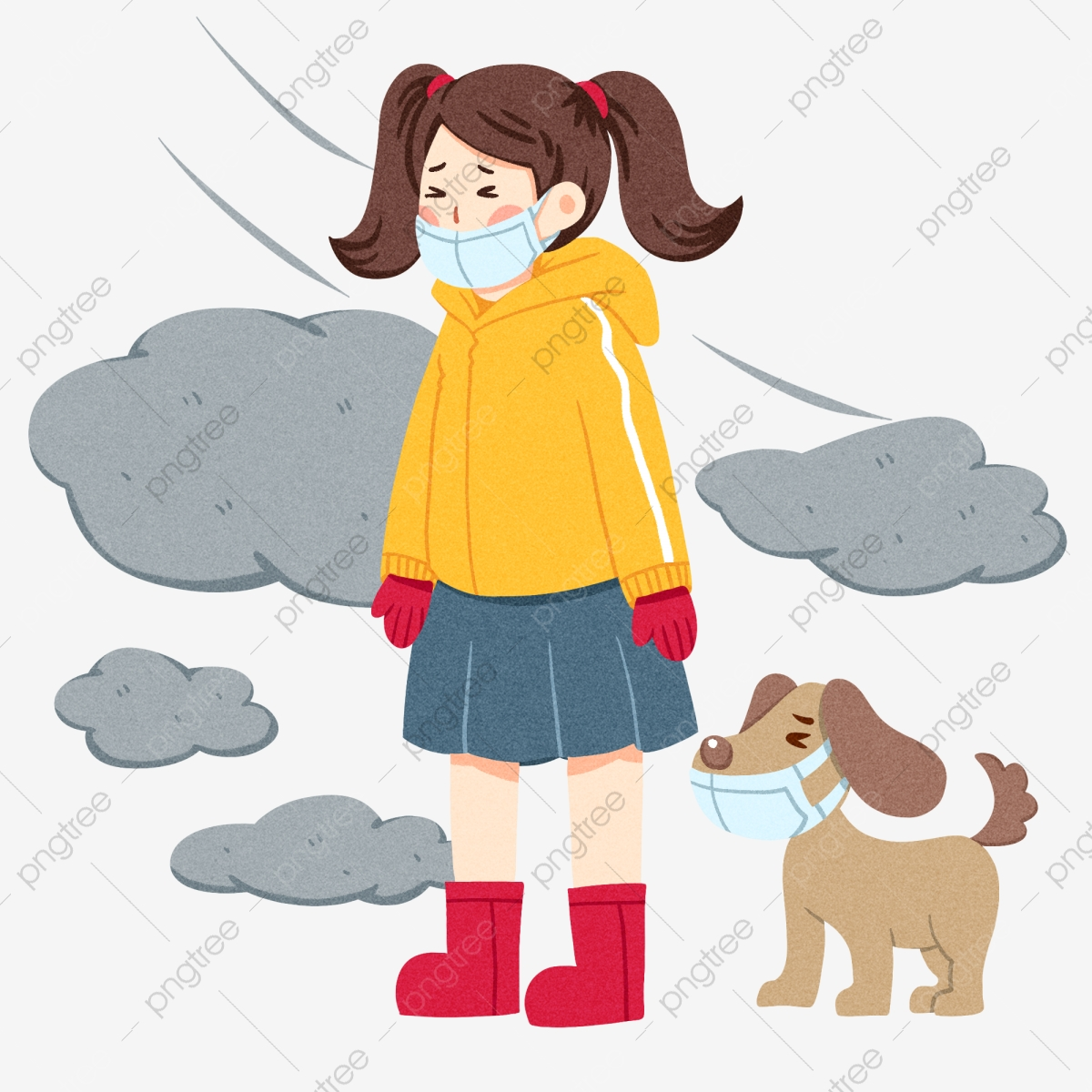 Illustration Du Personnage Anti Brouillard Petite Fille