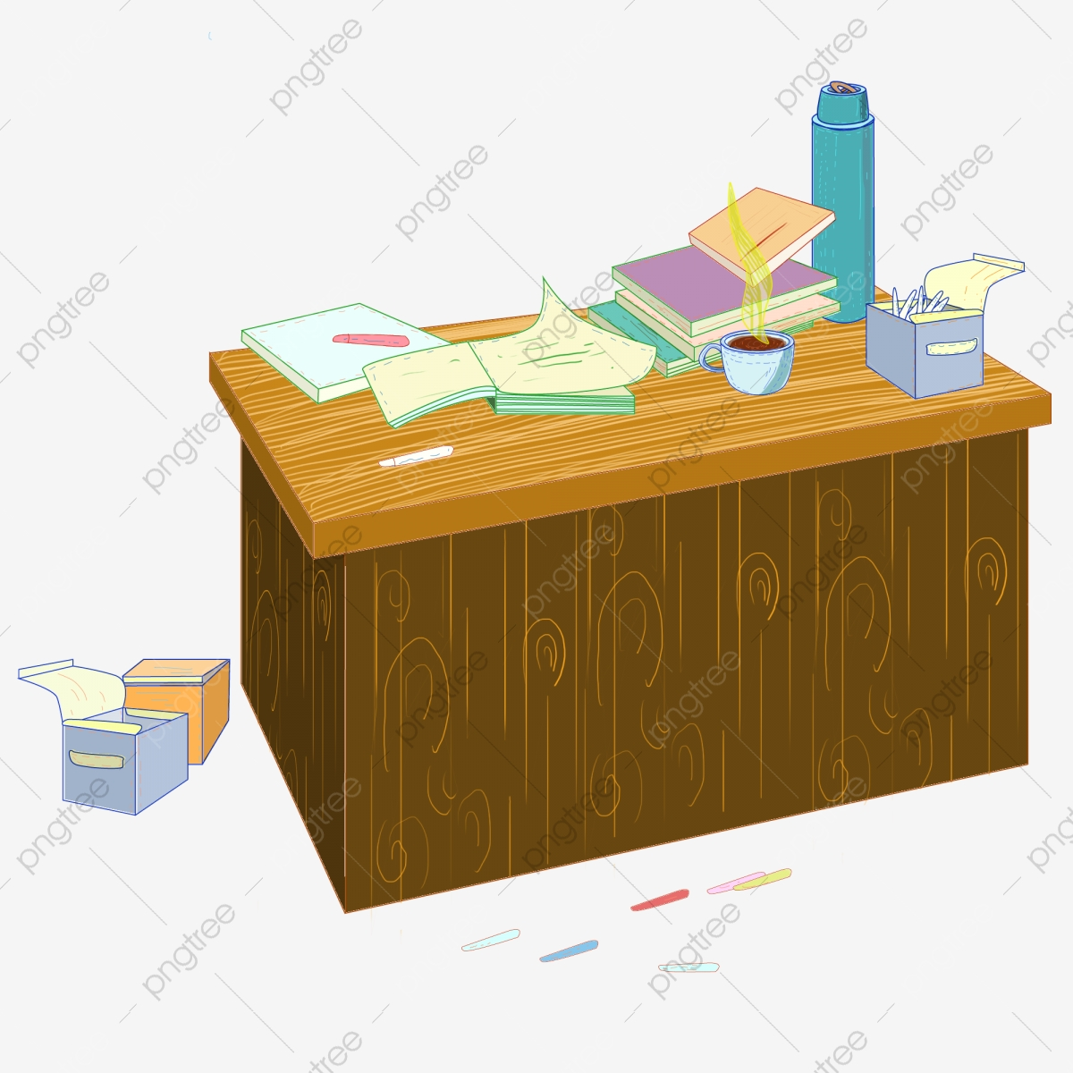Messy Office Desk Free Button Cartoon Desk Brown Desk Png Transparent Clipart Image And Psd File For Free Download