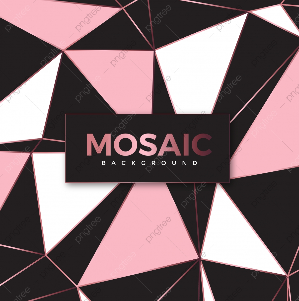 Modern Mosaic Wallpaper In Rose Gold And Black Gold Rose