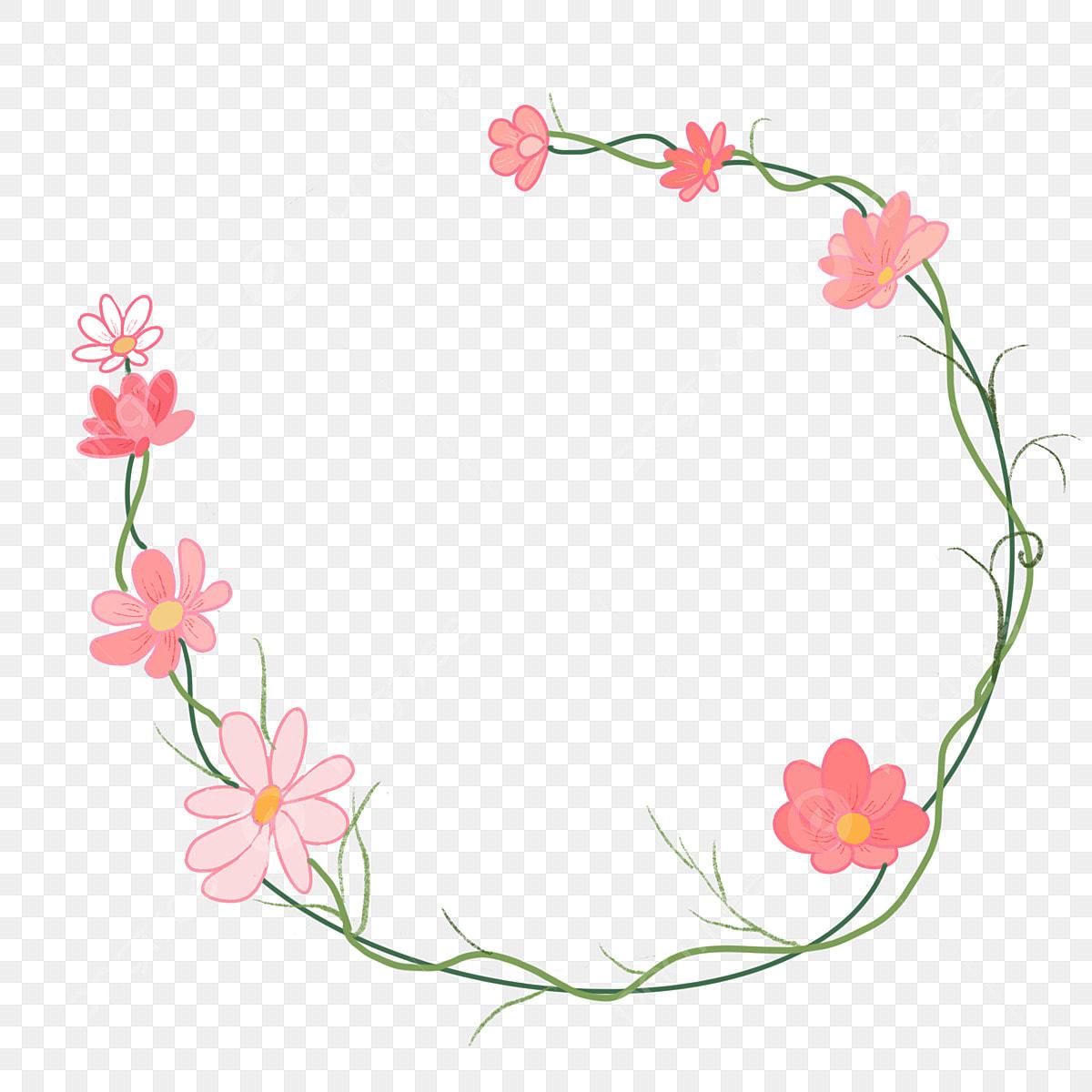 Pink Flowers Flowers Vines Border, Pink Flowers, Cartoon