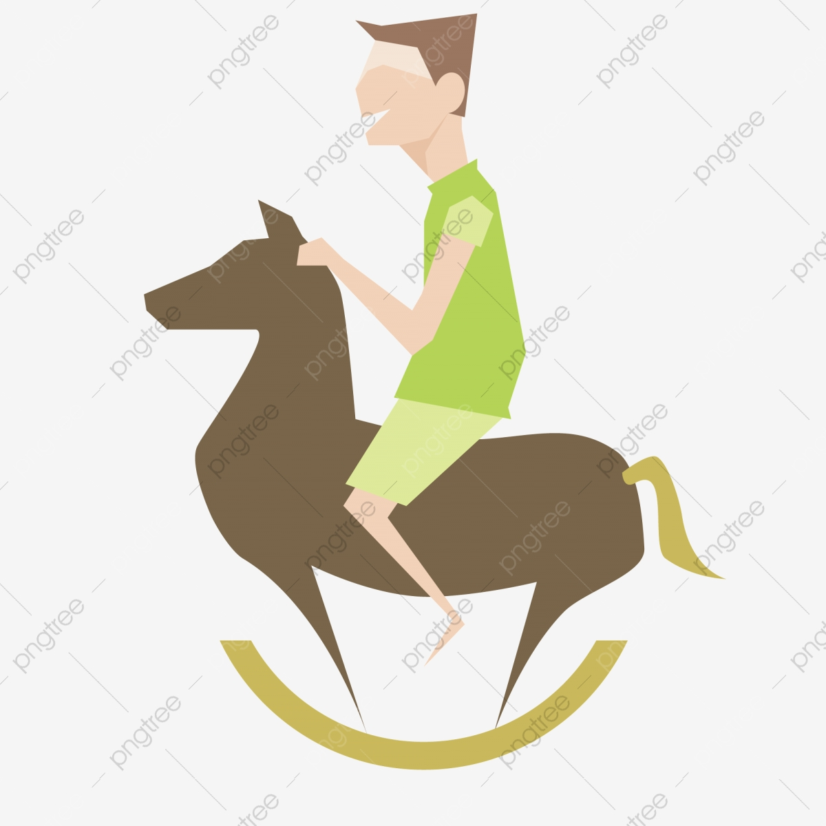 Riding A Wooden Horse Boy Cartoon Illustration Boy Riding A Trojan Sport Png And Vector With Transparent Background For Free Download