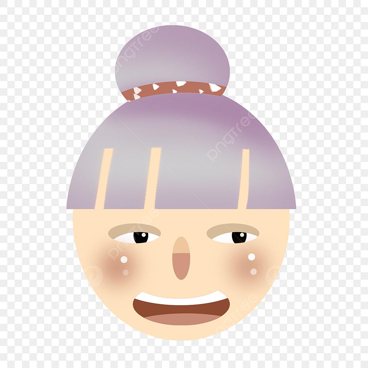 Kartun Wajah Ilustrasi Pipi Bulat Rambut Putih Ilustrasi
