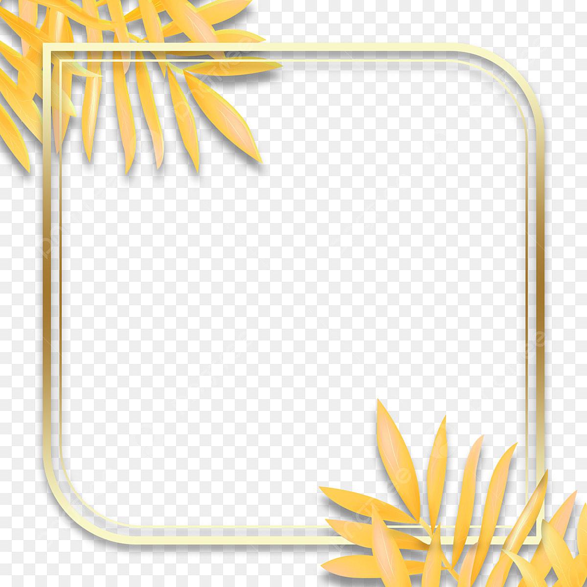 بسيطة الهندسة النباتية زخرفة إطار ذهبي الملمس هندسي النباتات التدرج Png وملف Psd للتحميل مجانا