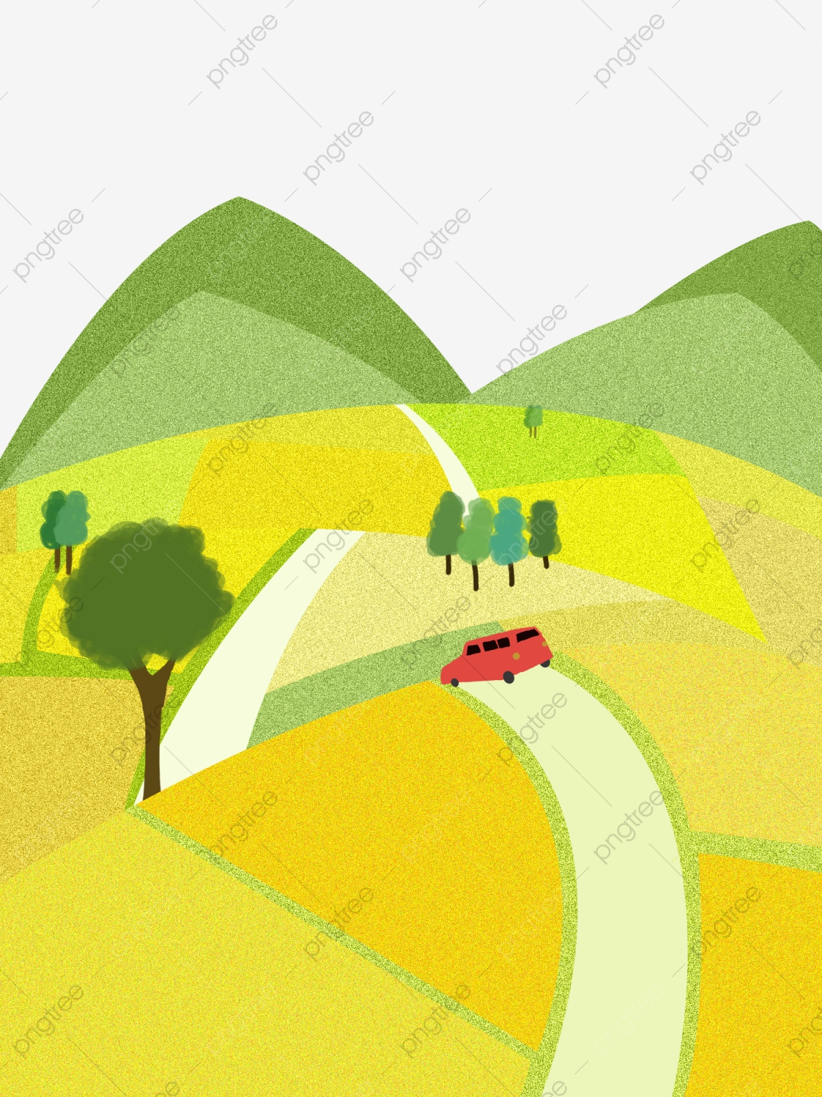 Small Fresh Wind Rape Flower Field Country Road Hand Painted Illustration Free  Download, Small Fresh, Rapeseed, Rapeseed Field Decoration Illustration PNG  Transparent Clipart Image and PSD File for Free Download