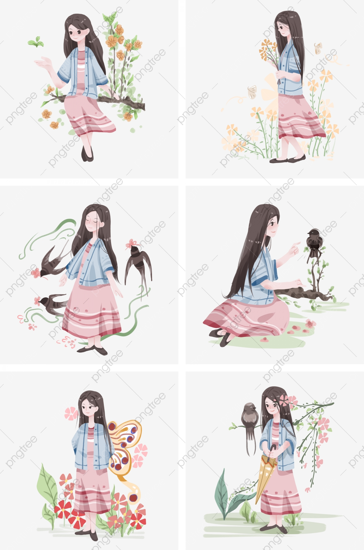 Collection D Illustrations Spring Equinox Belle Petite Fille