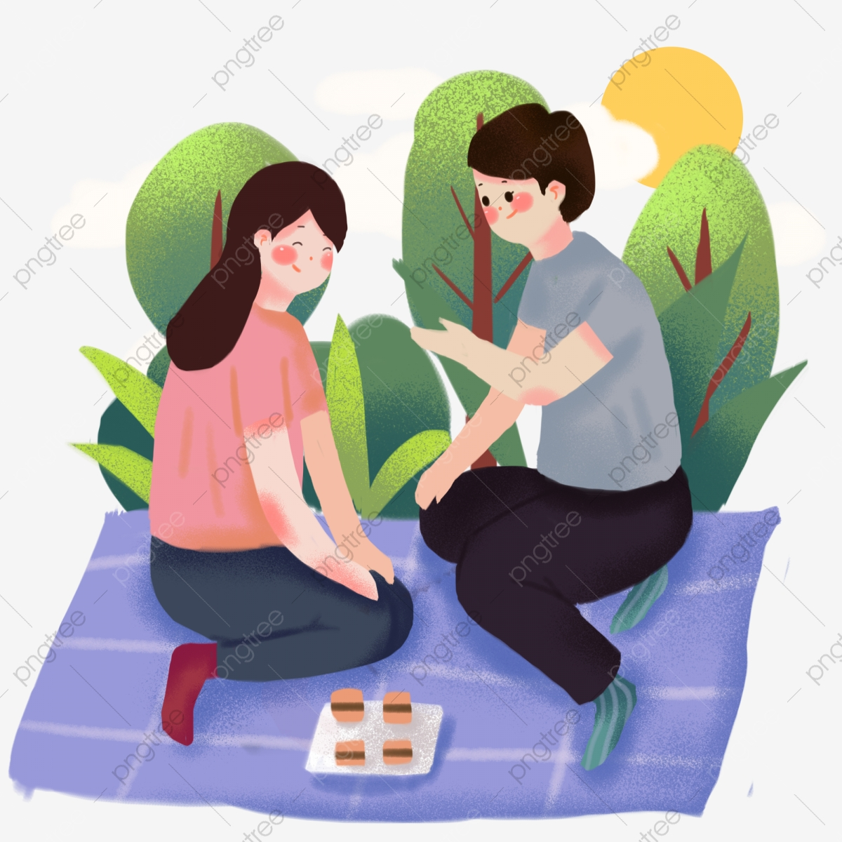 Musim Bunga Kecil Kekasih Tangan Yang Ditarik Pasangan