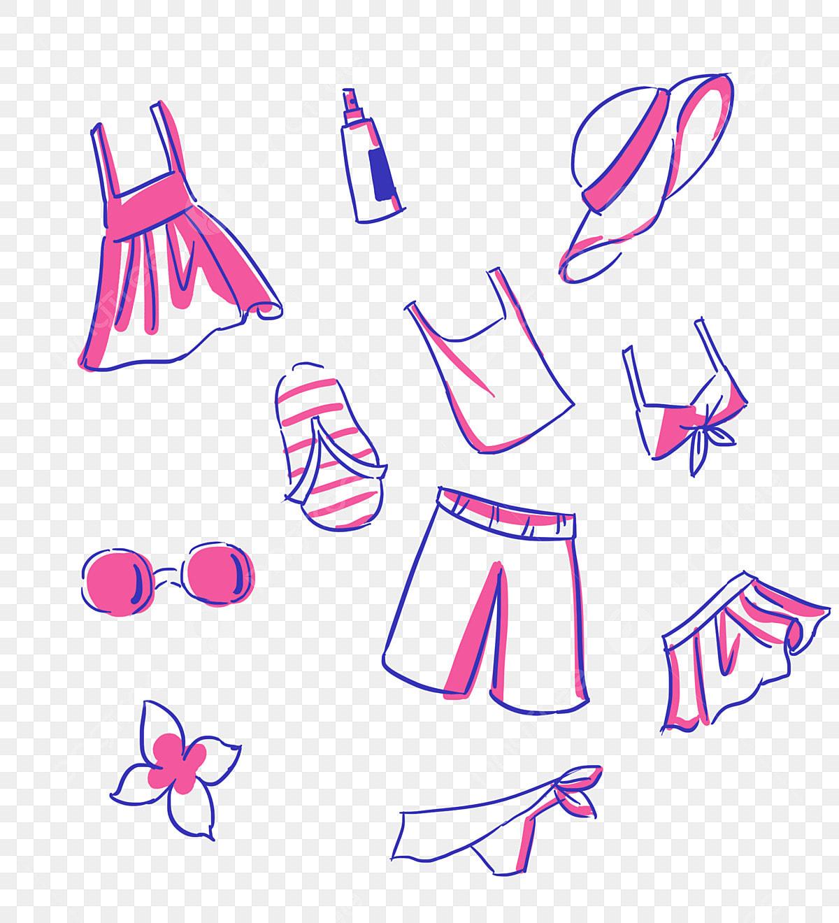 الصيف مزيج الملابس التظليل الكرتون حر الكرتون مزيج الملابس Png وملف Psd للتحميل مجانا