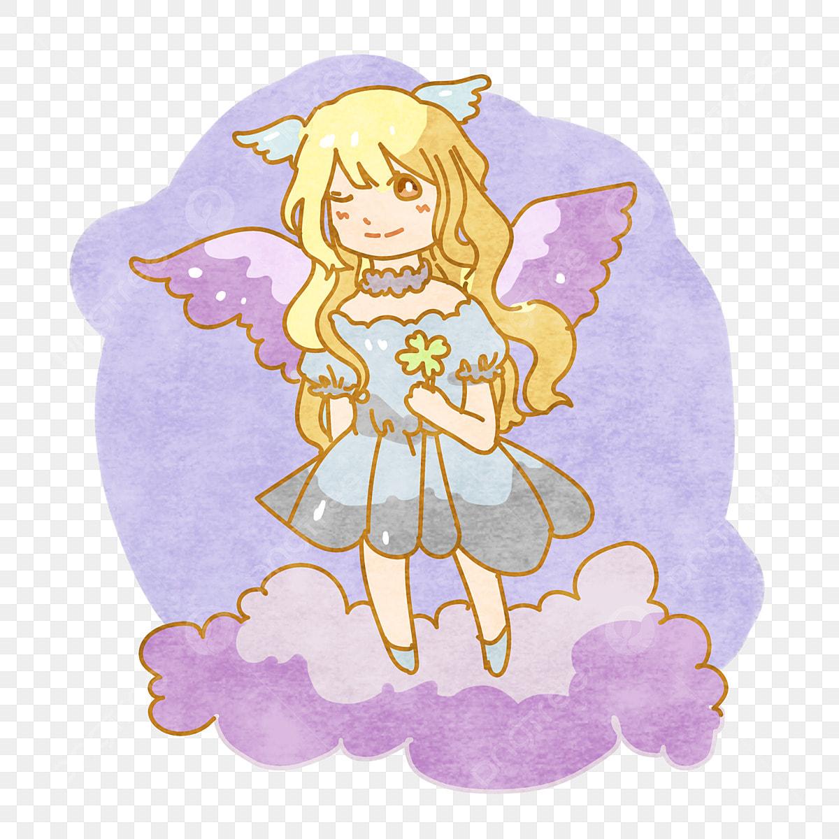 Dessin Ange Realiste bleu ange décoration de dessin animé mignon couleur de coeur
