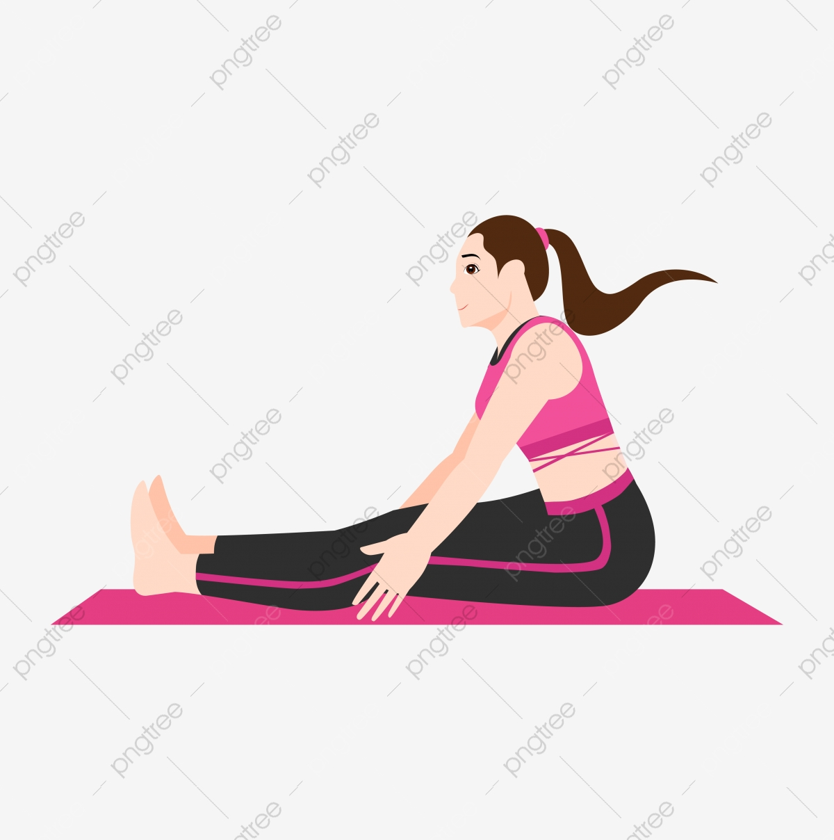 Vector Free Buckle Cartoon Woman Yoga Cartoon Yoga Hd Png And Vector With Transparent Background For Free Download
