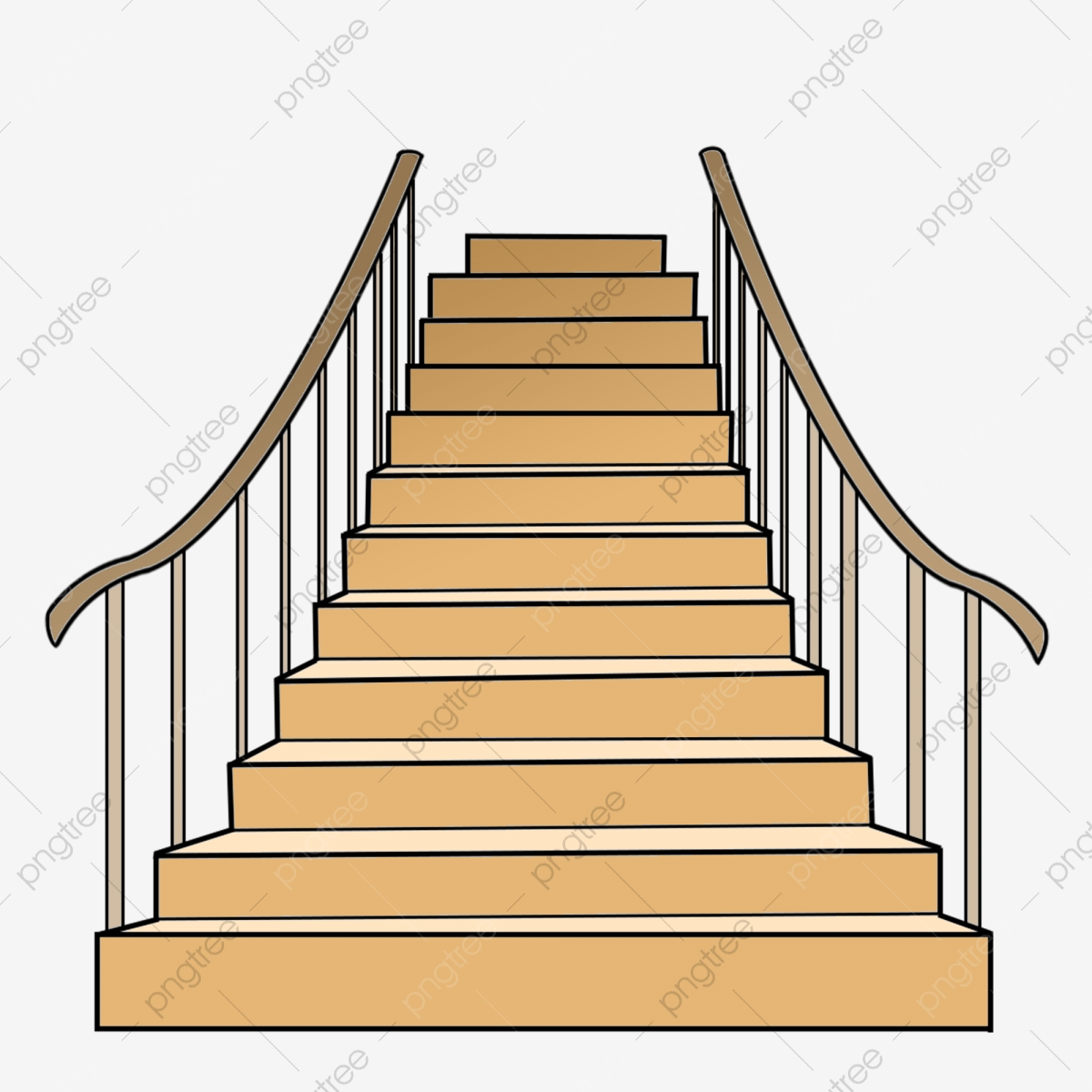 Stairs: Wooden Cartoon Stairs Illustration, Wooden Stairs, Yellow