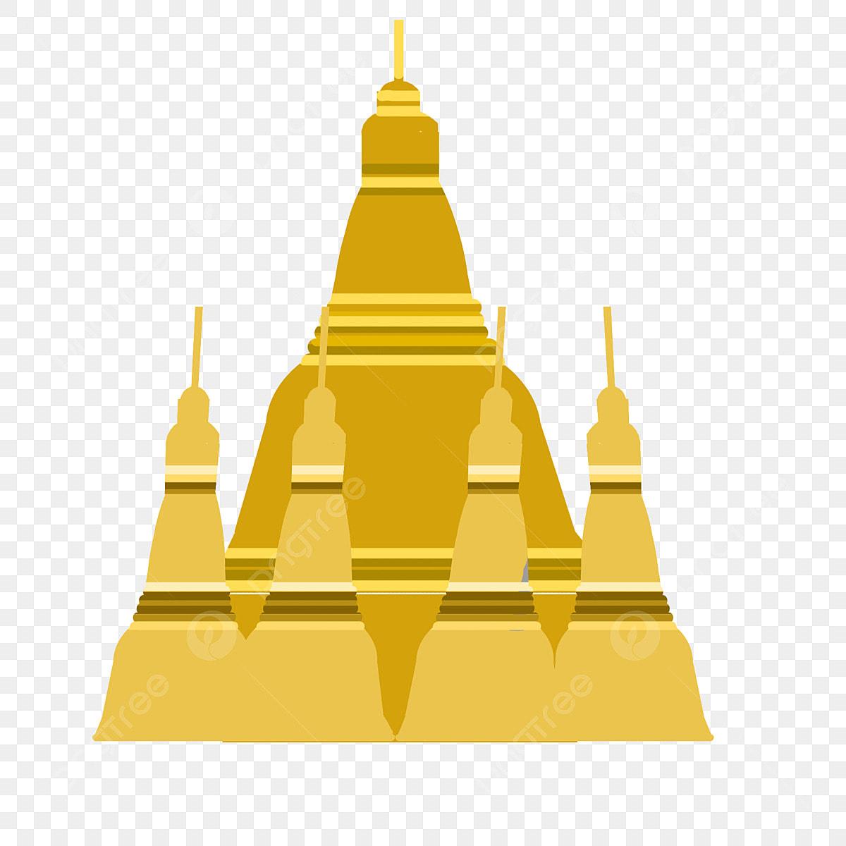 Yangon Dajin Temple Architectural Illustration Golden