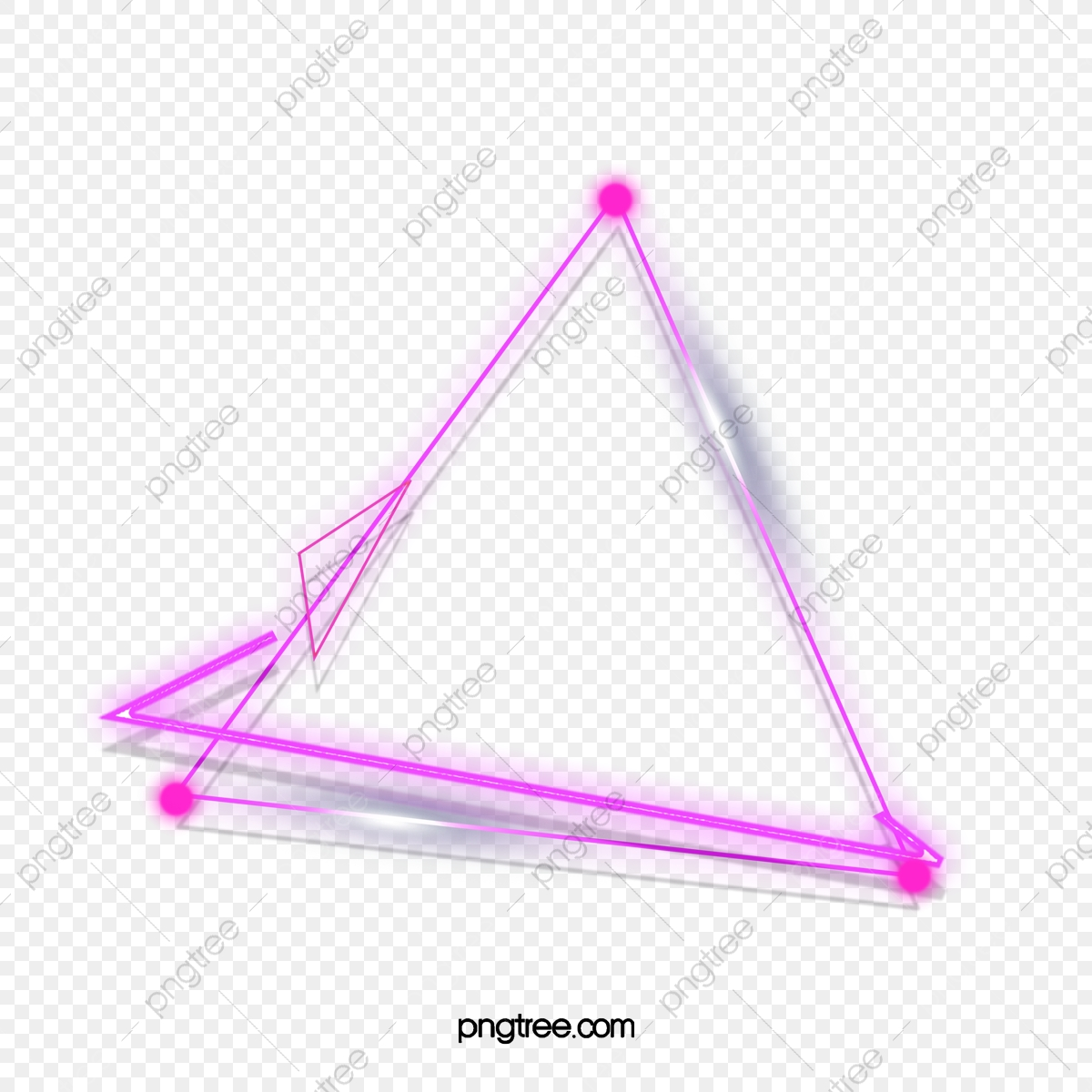 Double Triangle Purple Neon Lighting Effect Border, Triangle