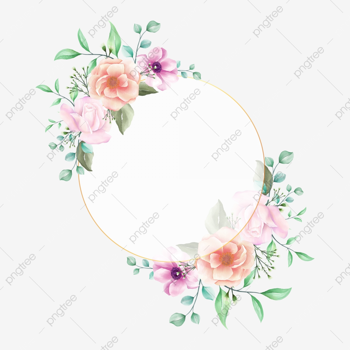 Floral Frame Watercolor Invitation Design Concept With Peonies