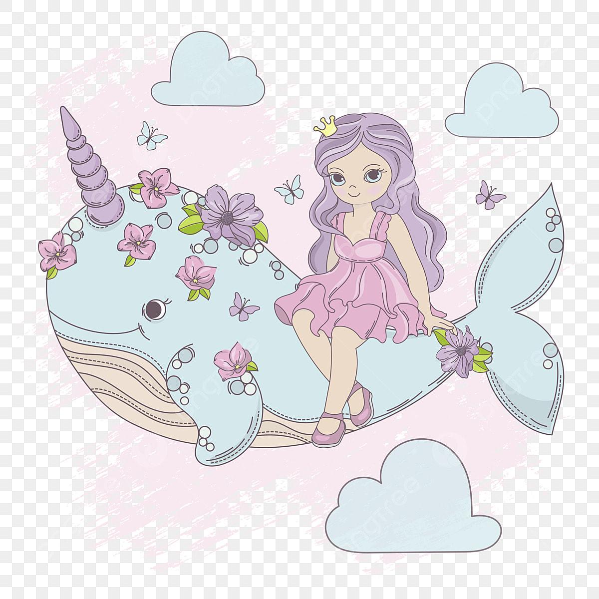 Fliegende Prinzessin Einhorn Wal Mädchen Geburtstagsfeier