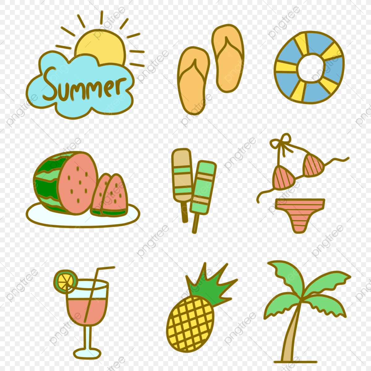 hand drawn summer icon with soft and pastel color pineaple sandals bikini png transparent clipart image and psd file for free download https pngtree com freepng hand drawn summer icon with soft and pastel color 4769752 html