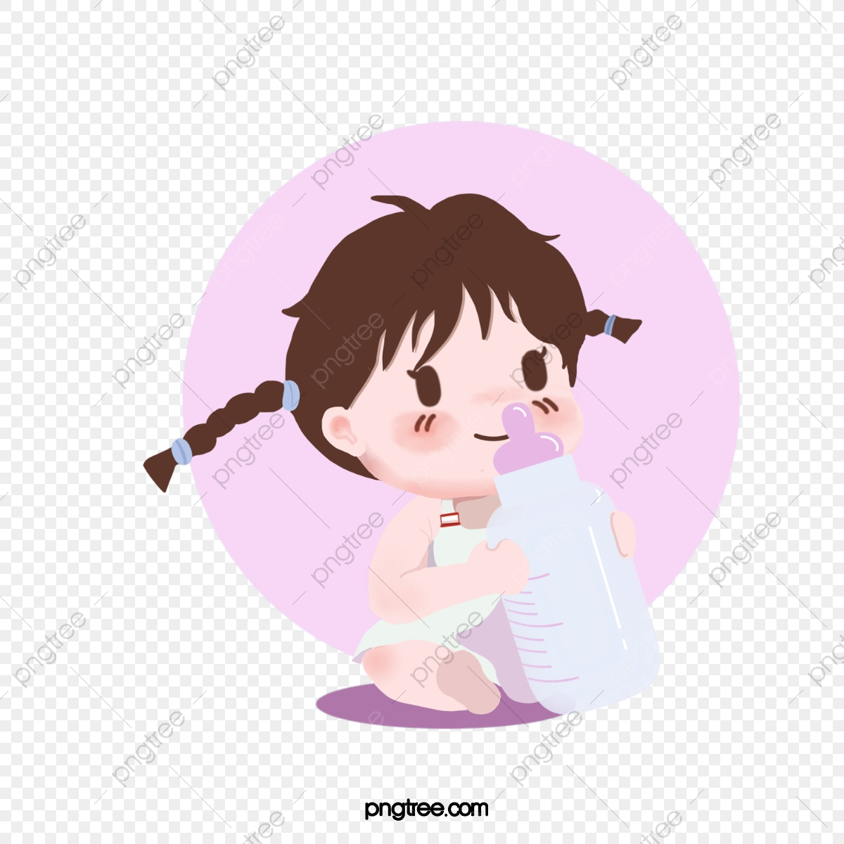Hand Painted Cute Cartoon Baby Baby Baby Girl Baby Milk Cartoon Lovely Drink Milk Png Transparent Clipart Image And Psd File For Free Download