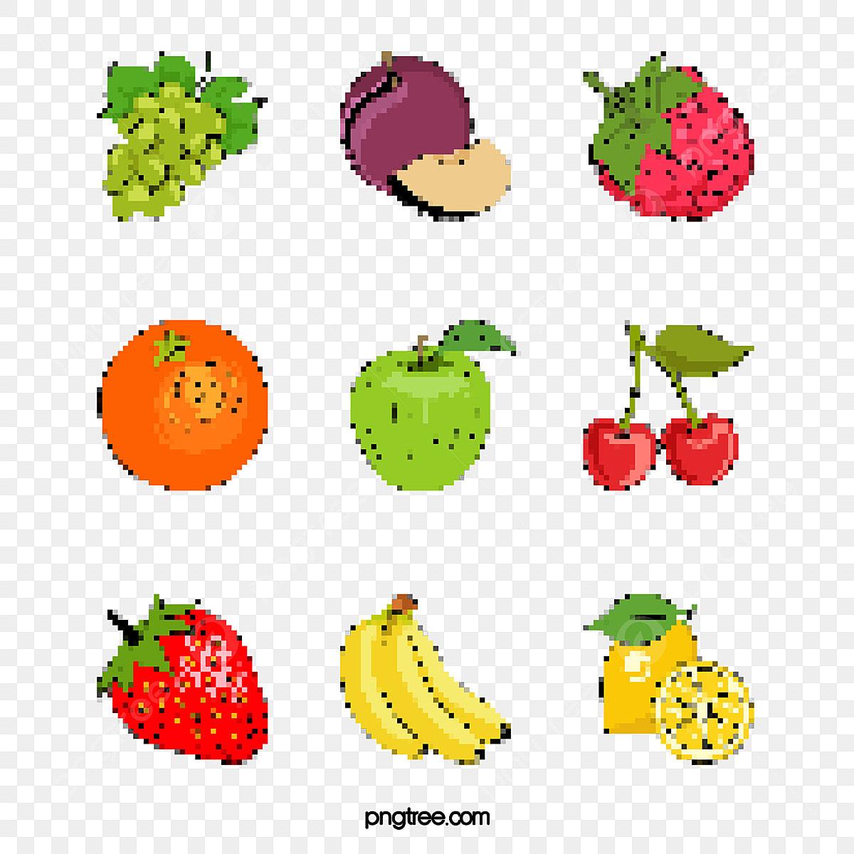 Mosaïque De Dessin De Style Des éléments Pixels De Fruits