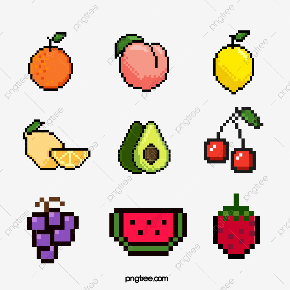 Mosaic Pixel Wind Various Fruit Elements Pixel Lemon